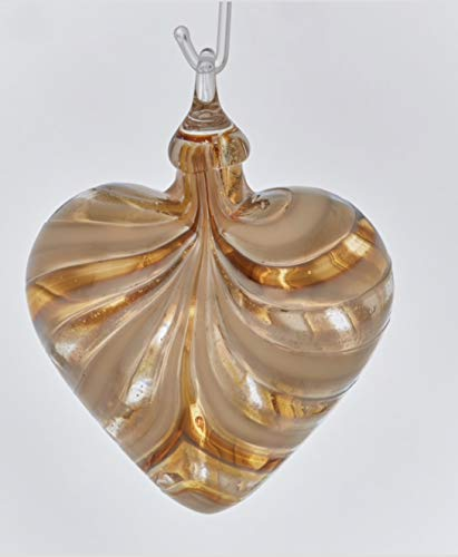 Glass Eye Studio Limited Golden Amber Twist Designer Heart Ornament