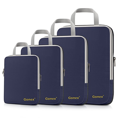 Gonex Compression Packing Cubes Extensible Organizer Bags for Travel Suitcase Organization Set of 4 Bags