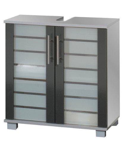 lifestyle4living Waschtischunterschrank mit silberfarbenem Korpus und Fronten in anthrazit mit 2 Türen, 1 Einlegeboden und 4 Füße, Maße: B/H/T ca. 60/62,5/32,5 cm