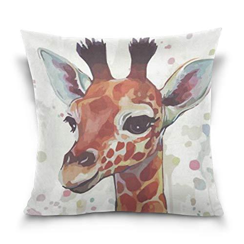 Chic Houses Lindo jirafa cuadrado fundas de almohada de algodón acuarela animal patrón mejor niños o bebé almohada cubierta 2030025