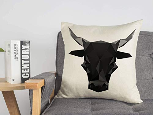 Throw Pillow Cover for Couch Sofa Bed Black Abstract Animal Fight Origami Bull Symbol Insignia Animals Head Wildlife Signs Symbols Ranch Linen Decorative Pillows Cushion Cover 16 x 16 Inches
