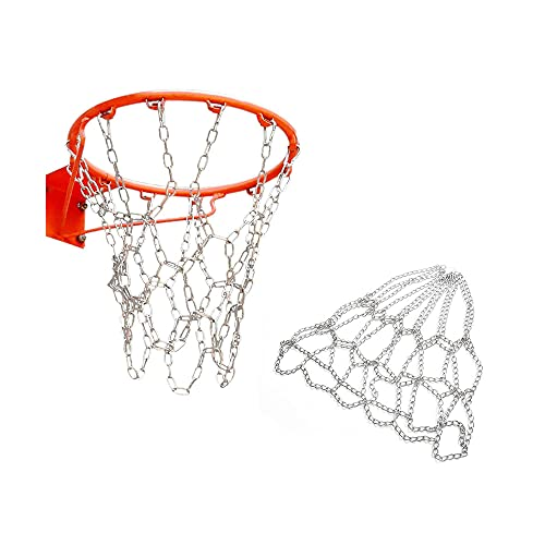 Aoser Basketballnetz Basketballkorb, Großes Basketballnetz, Asketball Netz Ersatz, Basketballkorb Ersatznetz, Metall Basketballnetz, Basketball Netz Ersatz, für Outdoor Indoor Basketballkorb(Silber)