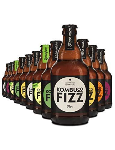 Kombuco Fizz - 12 Flaschen vitaler Kombucha ÜBERRASCHUNGS-MIX (12x330ml) - Bio