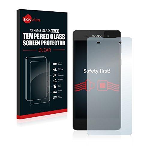 Savvies Panzerglas kompatibel mit Sony Xperia E5 - Echt-Glas, 9H Härte, Anti-Fingerprint