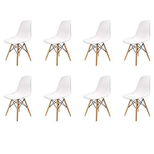 WV LeisureMaster Set di 8 Sedie da Pranzo in Stile Moderno Pre Assemblate, Sedia in Plastica Shell Lounge per Cucina, Sala da Pranzo, Camera da Letto, Sedie Laterali Soggiorno, Bianco