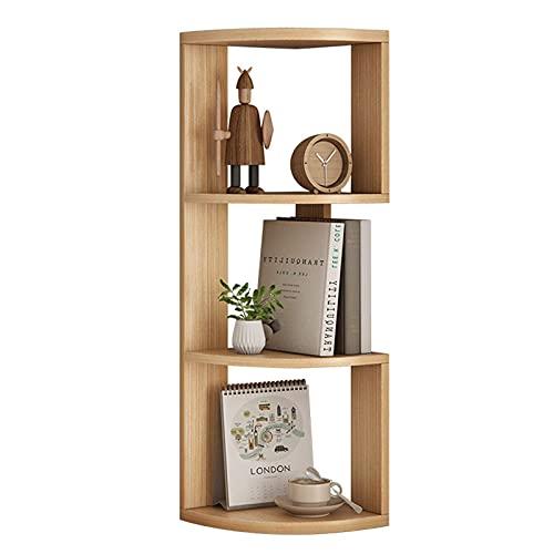 Worth having - 3 tier houten boekenkast, vrijstaande hoekopslag plankeenheid met zigzag ontwerp, duurzaam en zwaar, voor woonkamer/slaapkamer/kantoor