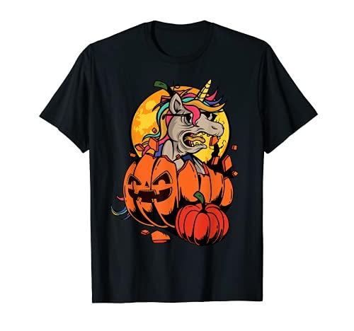 Camisa de Halloween Niñas Niños Mujeres Zombie Unicornio En Calabaza Camiseta