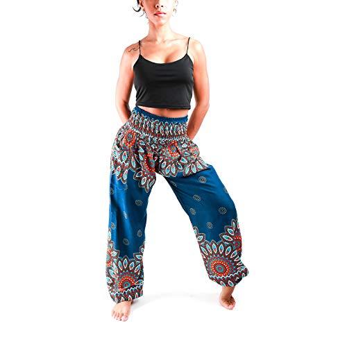 Atiya 100% Rayon Tie-Dye Multicolor with Pattern Unisex Smocked Waist Harem Pants, Hippie Yoga Boho Summer Beach Casual Style (Light of Love Navy)