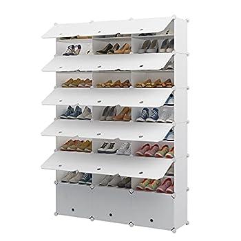 Aeitc Portable Shoe Rack 72-Pair DIY Shoe Storage Shelf Organizer Plastic Shoe Organizer for Entryway Shoe Cabinet with Doors White
