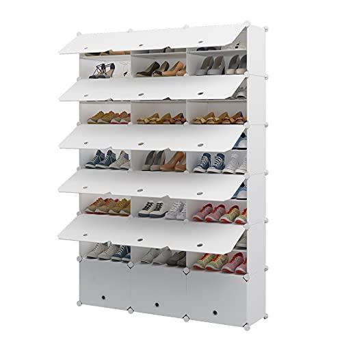Aeitc Portable Shoe Rack, 72-Pair DIY Shoe Storage Shelf Organizer, Plastic Shoe Organizer for Entryway, Shoe Cabinet with Doors, White