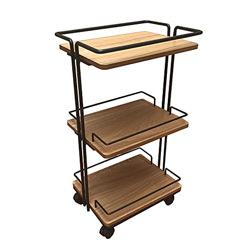 GAXQFEI Rustic Trolley Shelf,Couch Side End Tables Multi-Level Storage Side Table Study Storage Shelf Living Room Display Shelf Movable Kitchen Storage Coffee Table -,Wood Colour,45.5 * 39.5 * 79.5Cm