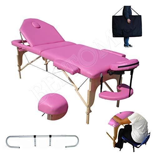 BELTOM Camilla de Masaje 3 Zonas Rosa + Soporte Portarrollo Mesa Cama portatil Plegable