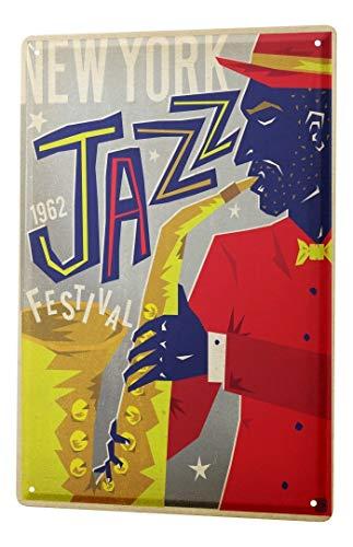 LEotiE SINCE 2004 Blechschild Dekoschild Küche Garage Küchen Deko 1962 Jazz NY Wand Metall Schild 20X30 cm