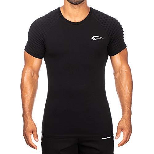SMILODOX Herren T-Shirt Ripplez | Kurzarm | Casual Top | Funktionsshirt für Sport Fitness Gym & Training | Trainingsshirt - Laufshirt - Sportshirt mit Logo, Farbe:Schwarz, Größe:L