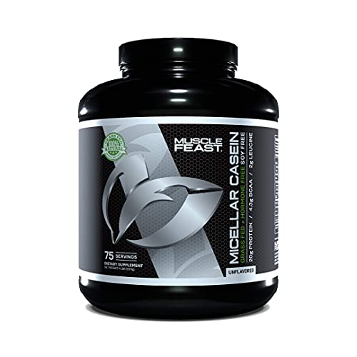 Muscle Feast 100% Micellar Casein Protein   All Natural, Pasture Raised, Hormone Free, Soy Free Slow Absorbing Pure European Micellar Casein   20g Protein, 88 Calories   Unflavored 4lb   75 Servings