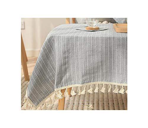 Cheryl Norri Japan Style Leinenbaumwollder Quaste Tischdecke Rechteckige Rand Tischdecke Brief gedruckt Staubdichtes Tischdecken, Farbe 3,100X140Cm