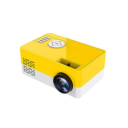 Saicowordist Mini Projector,Portable Projector Full HD 1080P LED Video Projector,50000 Hours Lamp Life LED Video Projector, Compatible with USB/HD/Sd/Av/VGA for Home Theater(Yellow)