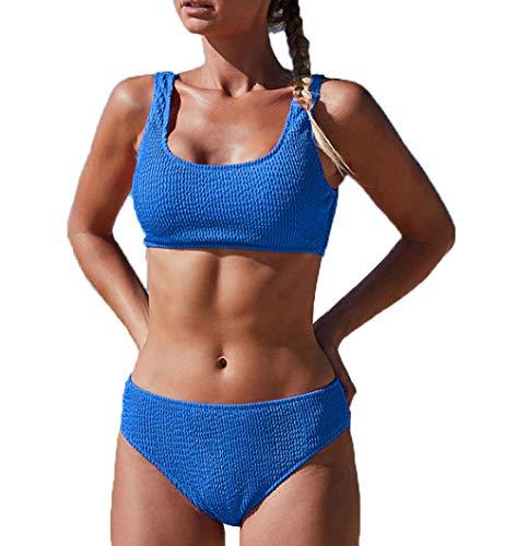 Dehots Sexy Damen Bikini Push Up Set Bademode Badeanzüge Bikinis für Frauen Teenager Mädchen Bandeau Sport mit Bügel,Blau,EU 40 (Label L)