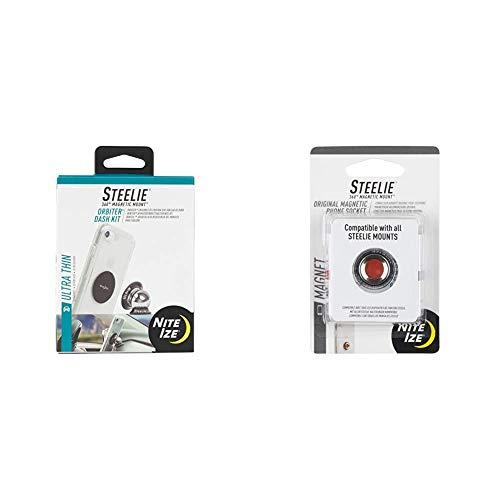 Nite Ize Steelie Orbiter Dash Mount Kit - Magnetic Cell Phone Holder for Car Dash, Low Profile & STSM-11-R7 Original Steelie Magnetic Phone Socket, Additional Magnet for Steelie Phone Mounting Systems