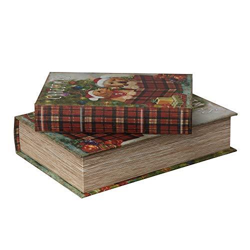 Glitzhome Book Box Decorative Storage Set of 3 Weihnachtliche H&e-Buchboxen