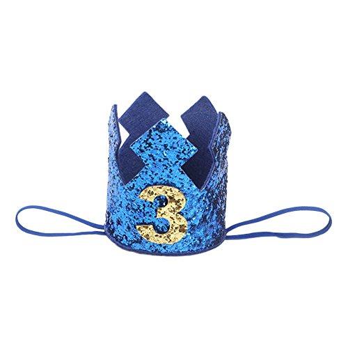 Westeng Diadema para Niños Cabello Kawaii Cintas del Pelo Diseño de la Corona Banda Elástico Pelo Accesorio Cumpleaños y Fiesta (Azul-3 años de Edad)