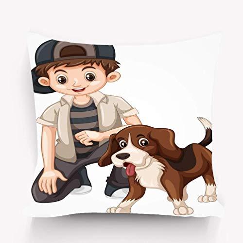 N\A Decoración Throw Pillow Cojín, diseño Moderno Obra de Arte niño Beagle Perro niño Beagle Perro Bueno