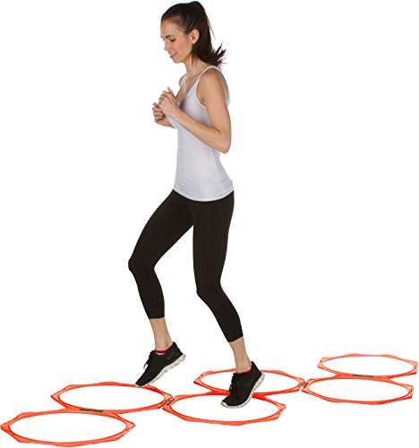 Trademark Innovations 20' Hexagonal Speed & Agility Training Rings - Set of 6 with Carry Bag (Orange) (HEXRING6-OR)
