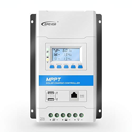 EPEVER 40A MPPT Solarladeregler 12 V / 24 V Auto Working Max PV 100 V Modulares Design Sonnenkollektoren MPPT-Regler mit LED- und LCD-Anzeige Doppel-USB-Anschluss für Solar Home System