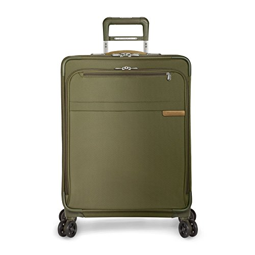 Briggs & Riley Baseline-Expandable Softside Medium Checked Spinner Luggage, Olive, 25-Inch