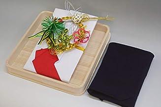 結納金袋(赤白)松竹梅鶴亀・ヘギ台付・正絹ちりめん風呂敷68cm(紫)付き