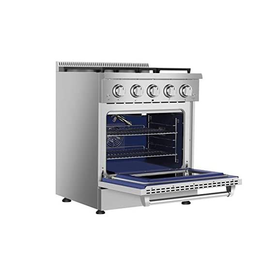 Empava 30 in. 4.2 cu. ft. Pro-Style Slide-In Single Oven Gas Range with 4 Sealed Ultra High-Low Burners-Heavy Duty Continuous Grates in Stainless Steel, 30 Inch, Black 4 The slide-in gas range offers the heavy-duty cast iron grates and 4 versatile burners, two single 18000-BTU burners, one single 12000-BTU burner, a dual ring 15000-BTU burner (650-BTU for simmer) distribute even heat for simmer, boil, stir-frying, steaming, melting or even caramelizing! The deep recessed gas range with an automatic reignition ensures a continuous flame and reignites automatically if accidentally extinguished. The zinc alloy control knobs with a blue LED lights that allows you to see if the cooktop is turn on from a distance. The stainless-steel gas range with a brilliant blue interior, the temperature can be set up from 150°F to 500°F help you to cook perfectly and accurately. It's good for broil, bake, defrosting, dehydration, preheating.