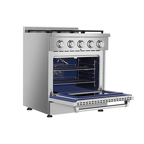 Empava 30 in. 4.2 cu. ft. Pro-Style Slide-In Single Oven Gas Range with 4 Sealed Ultra High-Low Burners-Heavy Duty Continuous Grates in Stainless Steel, 30 Inch
