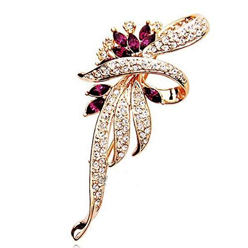 QWEQWE Crystal Flower Broche Pin Pin Fashion Rhinestone Joyería Mujer Boda Hijab Pins Broches Grandes para Las Mujeres (Metal Color : Gold)