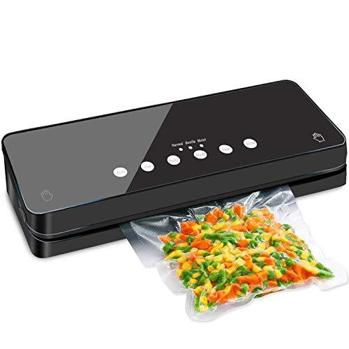 Envasadora al vacío 8 en 1, dispositivo de sellado al vacío para alimentos secos y húmedos, incluye bolsa de vacío y manguera de vacío (negro)