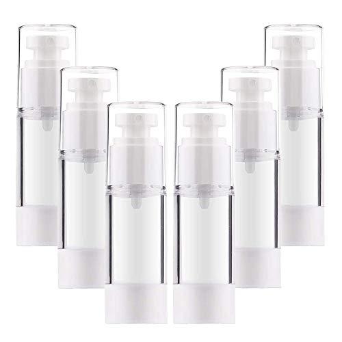 6 Botellas de Bomba sin Aire, rellenables vacías Transparentes para Bomba de loción de Viaje contenedores/Botellas de Bomba de presión al vacío para Base, Esencia, loción (30 ml)