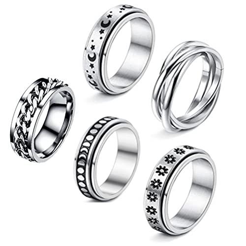 Auplew Anillo de acero inoxidable para hombre, 5 unidades, para mujeres y hombres, anillos de miedo, luna, estrella, banda para reducir el estrés, juego de promesa
