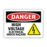 2-Pack Danger High Voltage Warning Vinyl Decal Sticker | 7-Inch by 5-Inche | Premium Quality Vinyl Decal | Laminated with UV Protective Laminate | PD2729
