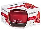 Bolsius Candela Profumata in Vetro 50/80 mm Small, Colore Rosso, Fragranza Melograno, True Scents