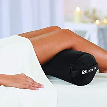 EARTHLITE Bolster Pillow Stowaway – Inflatable Massage Travel & Leg Bolster 100% PU Upholstery incl Carry Strap/Adjustable Firmness/Back Pain Relief Black
