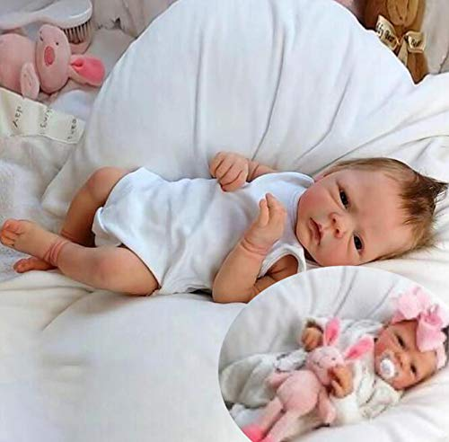 XZHFC Reborn-Puppen Junge, Mädchen 19 Zoll 49 cm Soft Silikon-Realistic Reborn Kleinkind-Baby Puppe Handgefertigte Reborn Babys Geburtstags-Geschenke Spielzeug