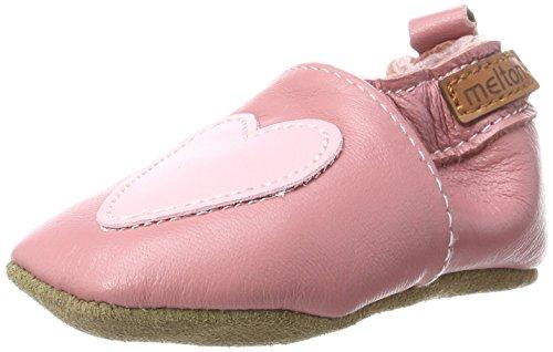 Melton Melton Baby Mädchen Krabbelschuh Herzchen aus weichem Leder Krabbel- & Hausschuhe, Mehrfarbig (Dusty Rose), 24/25 EU