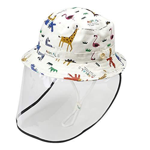 Happy Cherry - Neonati Cappello Facciale Protezione con Cover Trasparente per Anti-Saliva Anti-UV Antipolvere Estivo Bambine Bambini Berretto da Pescatore con...