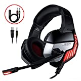 Cascos Gaming CHEREEKI Cascos para Juegos PS4, PC, Xbox One Auriculares Gaming Estéreo Ajustable Gaming con Micrófono y Control de Volumen, Bass Surround y Cancelación de Ruido (Rojo)
