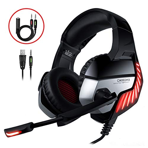 CHEREEKI Cascos Gaming Cascos para Juegos PS4, PC, Xbox One Auriculares Gaming Estéreo Ajustable Gaming con Micrófono y Control de Volumen, Bass Surround y Cancelación de Ruido (Rojo)