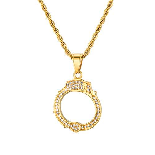BAJIE Herren Anhänger Halskette Iced Out Strass Edelstahl Herren Gold Farbe Kristall Handschellen Anhänger & Halsketten Für Männer Schmuck Seilkette