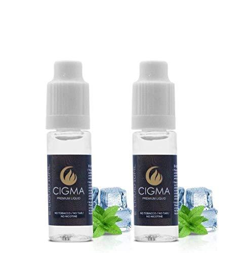 CIGMA 2 X 10ml E Liquid   Eis Minze   Neue Premium Qualitätsformel nur mit wertvollen Zutaten   Hergestellt für Elektronische Zigaretten und E Shishas