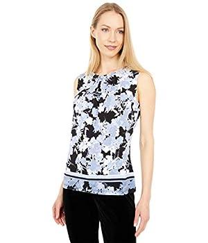 Calvin Klein Floral Pleat Neck Border Print Cami Zen Multi MD  US 8-10