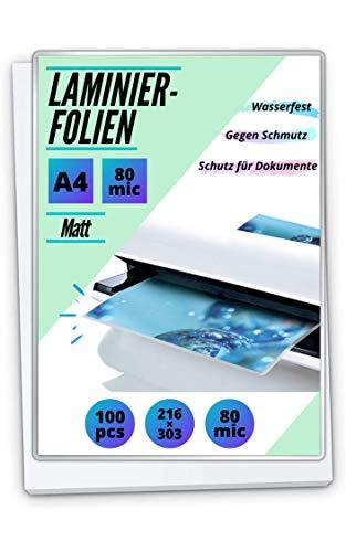 100 PREMIUM Laminierfolien DIN A4 - matt/entspiegelt - 2 x 80mic (160 mic) - beidseitig matt