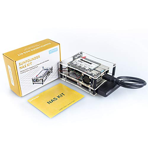 SUNFOUNDER NAS Kit for Raspberry Pi 4B/3B+/3B/3A+/2B, NAS Hat, Dual Fan, Micro SD Card Included