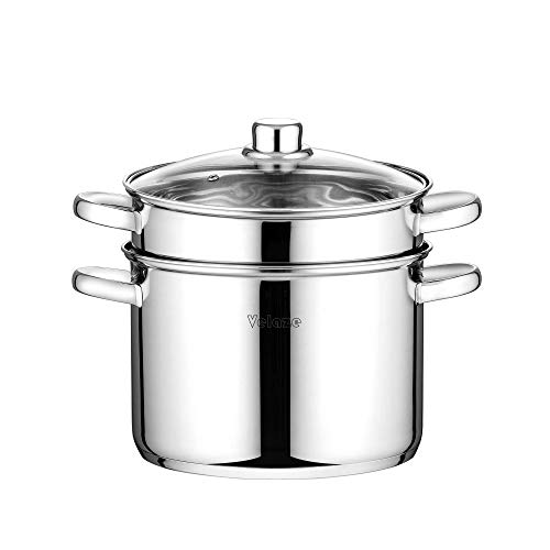 Velaze Pasta Pots 3 Piece 7.2L Multifunction Premium Stainless Steel Spaghetti Pot with Encapsulated Base and Vented Glass Lid, Silver